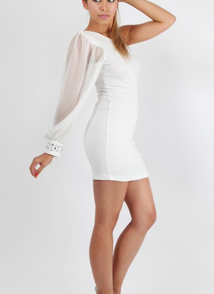 white one shoulder cocktail dress evening dress