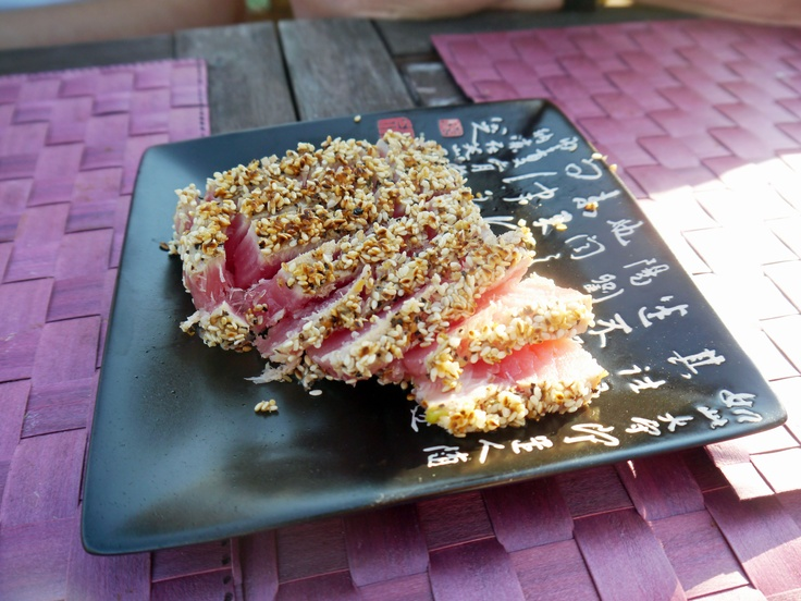 Pan Seared Sesame Crusted Tuna Steaks! Can you say Yummm?! Yummm.