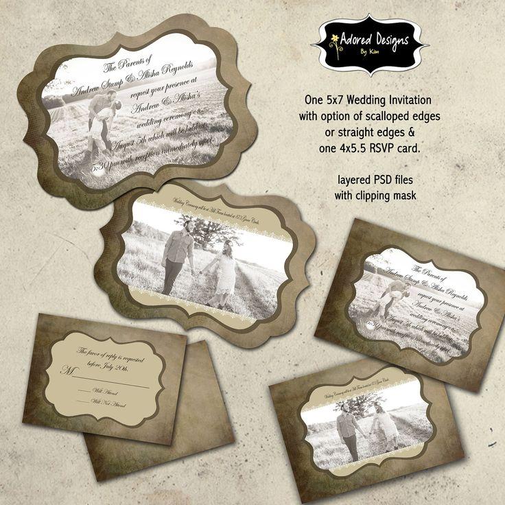 Instant Download Wedding Invitation Photoshop by AdoredDesign, $8.00