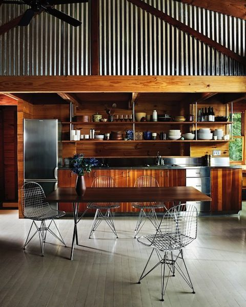 Galvanized kitchen industrial pinterest for Industrial style kitchen chairs