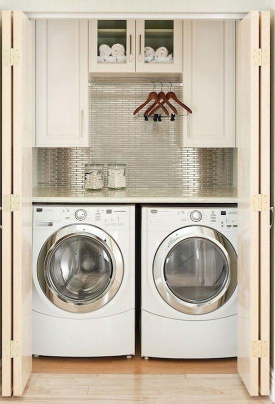 metallic backsplash laundry closet home laundry room