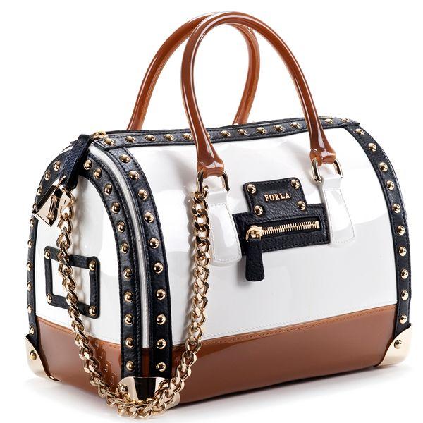 White, Tan  Royal Blue Furla Bag