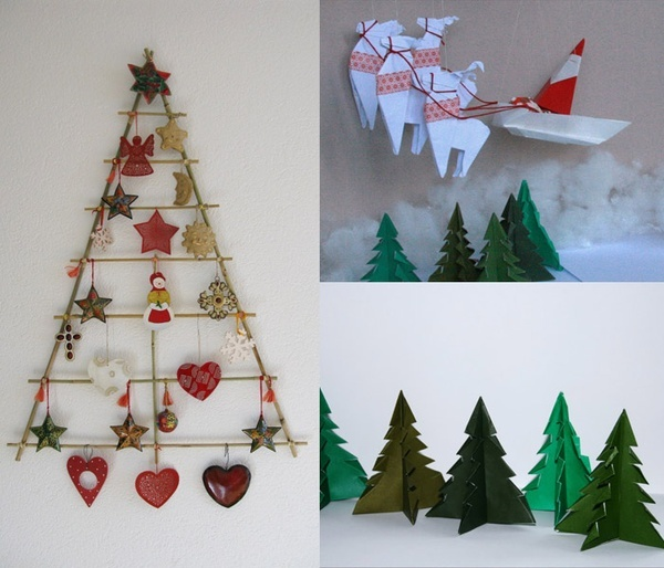 Christmas wall decorations homemade for Homemade tree decorations