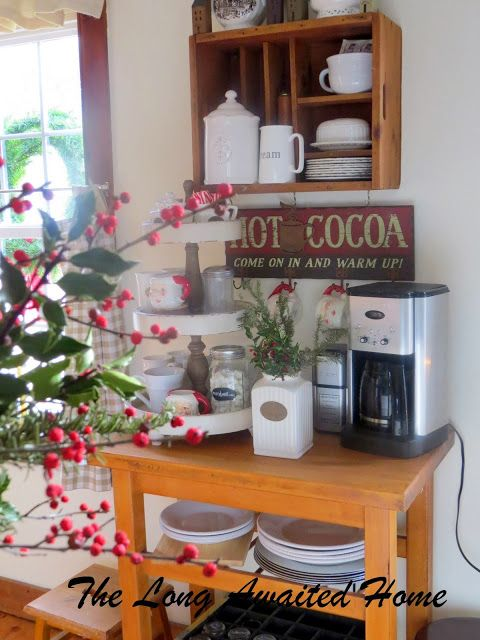 Christmas in the kitchen.  Coffee and hot cocoa bar.