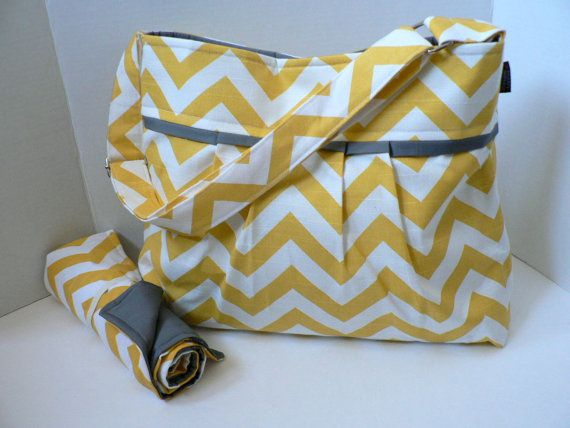 Monterey Chevron Diaper Bag Set - Medium -Yellow  | Buying for Baby