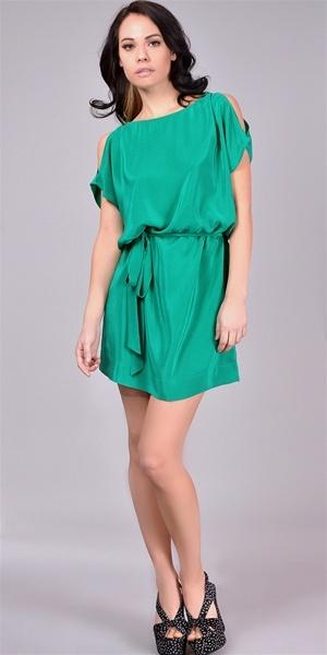 Agata Silk Cold Shoulder Dress - Spearmint | $258 | Free Shipping