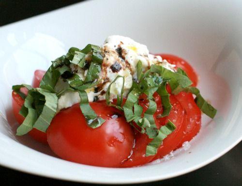 burrata, basil, and tomato salad
