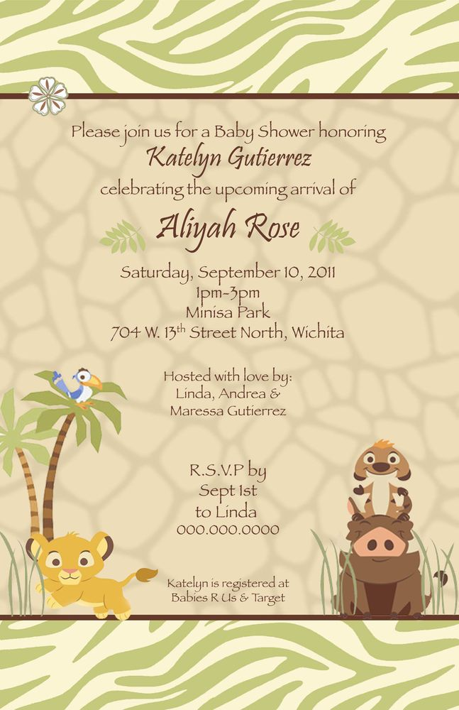 disney lion king baby shower or birthday invitations simba safari