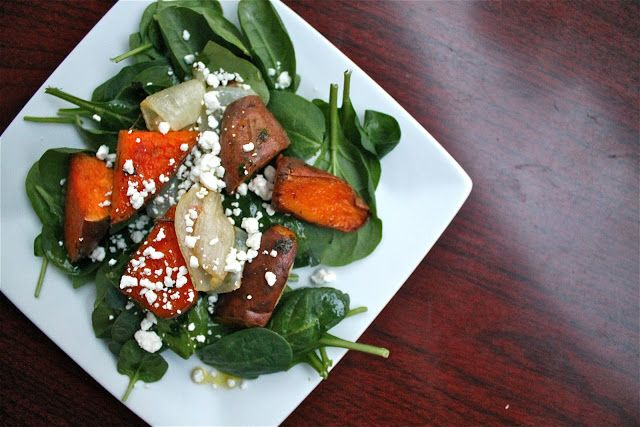 roasted sweet potato salad with goat cheese and lime vinaigrette