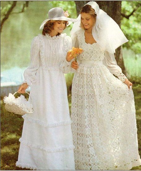 Crochet Pattern Wedding Dress : 70s PDF Crochet Wedding Dress Pattern INSTANT Download