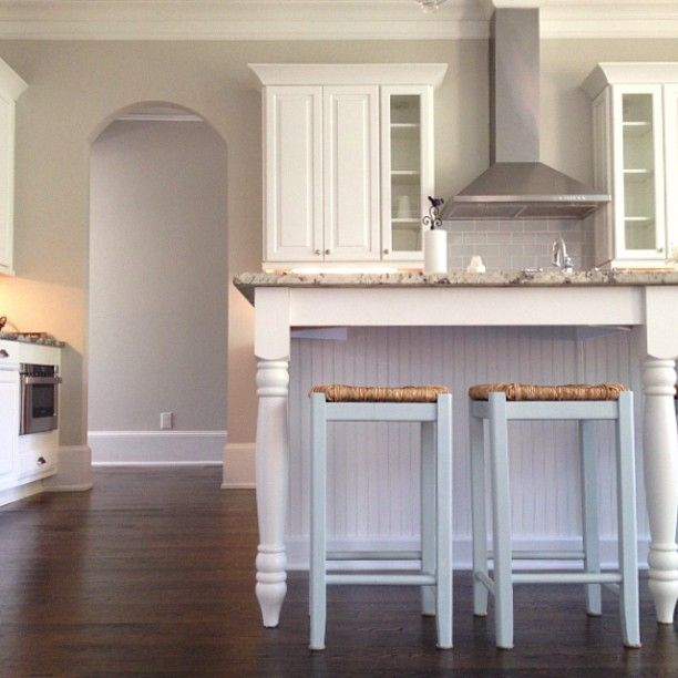 wall color repose grey from Sherwin Williams And white cabinets, and