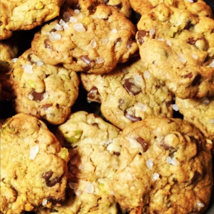 Pistachio dark chocolate chip cookies with a sea salt sprinkle
