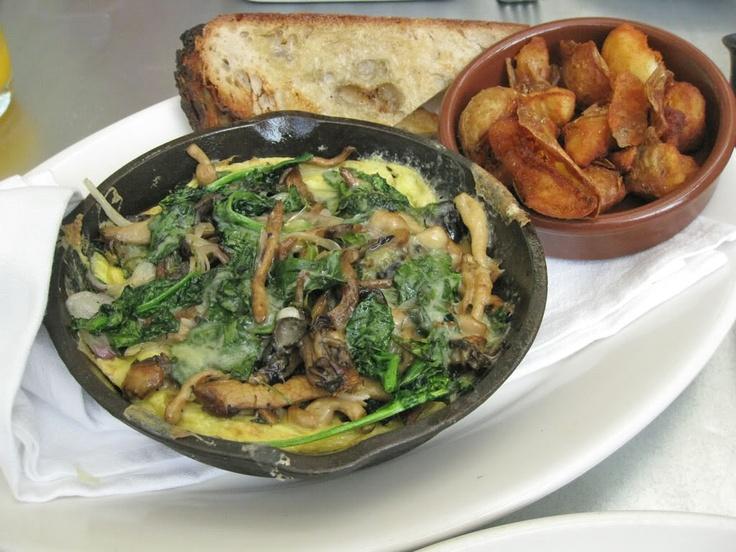 Wild Mushroom Frittata with Spinach and Cheddar.