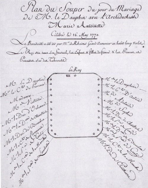 Seating plan for the wedding dinner of Louis XVI and Marie-Antoinette, 16 May 1770