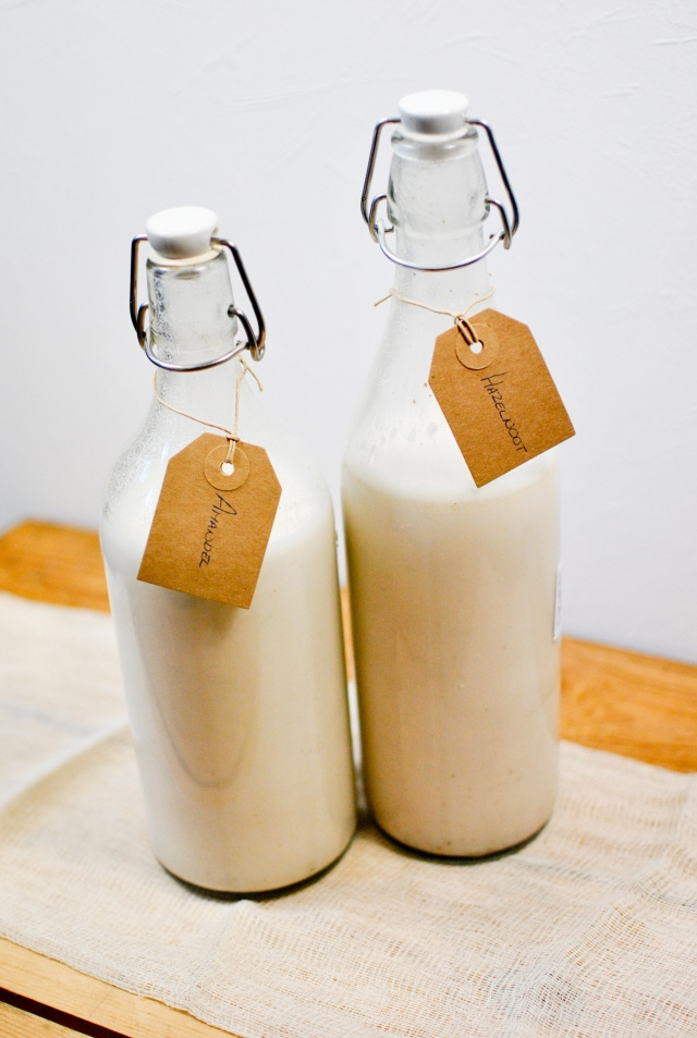 #DIY Almond Milk: Bottle in classic milk jugs -- great as party favors! | pinchofme.com