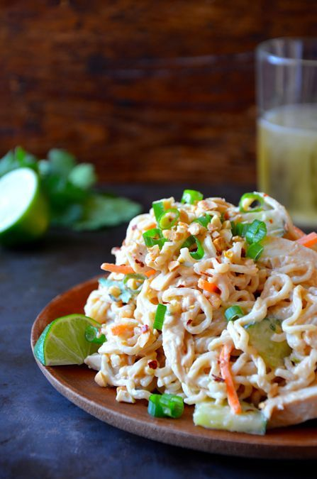 Thai Chicken Pasta Salad...easy to make without the chicken