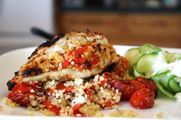 Roasted Red Pepper, Feta and Quinoa Stuffed Chicken Breast | BS' In ...