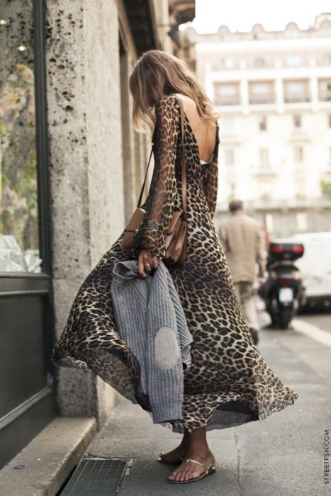 What a gorgeous long-sleeved floor length leopard dress.