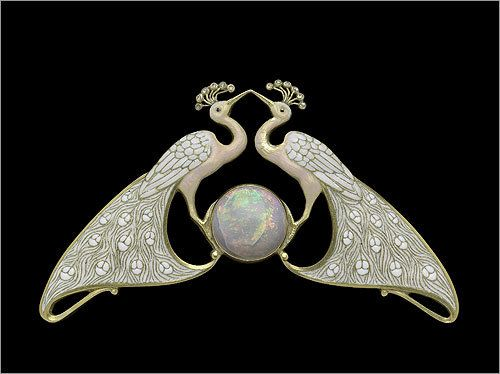 Double peacock necklace , about 1900. By: Eugene Feuillâtre, 1870–1916. Gold, enamel, diamond, and opal.