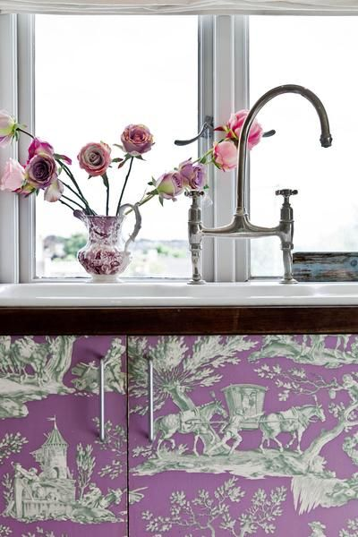 crazy fun purple toile on cabinets  Kitchens  Pinterest