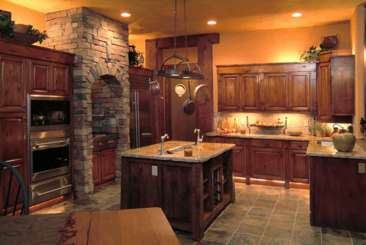 Log cabin kitchen fun kitchens pinterest for Cabin kitchen cabinets
