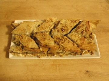 balsamic pear, caramelized onion and goat cheese phyllo tart