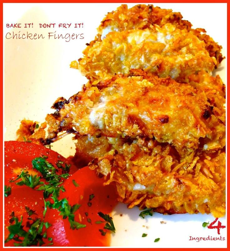 Crispy, Crusted Sweet Chicken Fingers // #4Ingredients #Baked # ...
