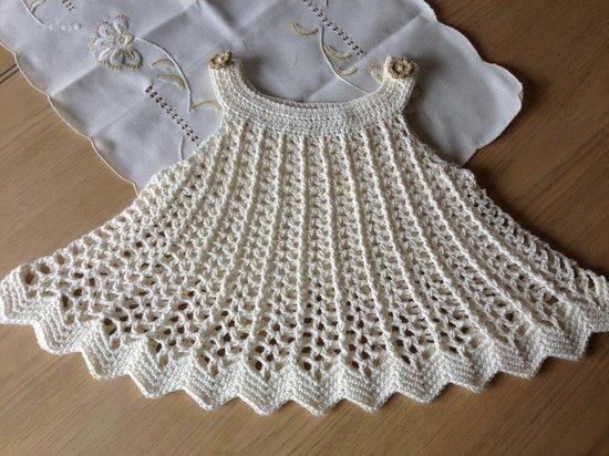 Vestido para bebés tejido en crochet con patrones - Imagui