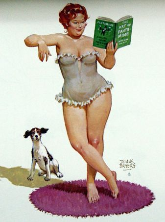 Hilda reading book of 'Pantomime', trying it out