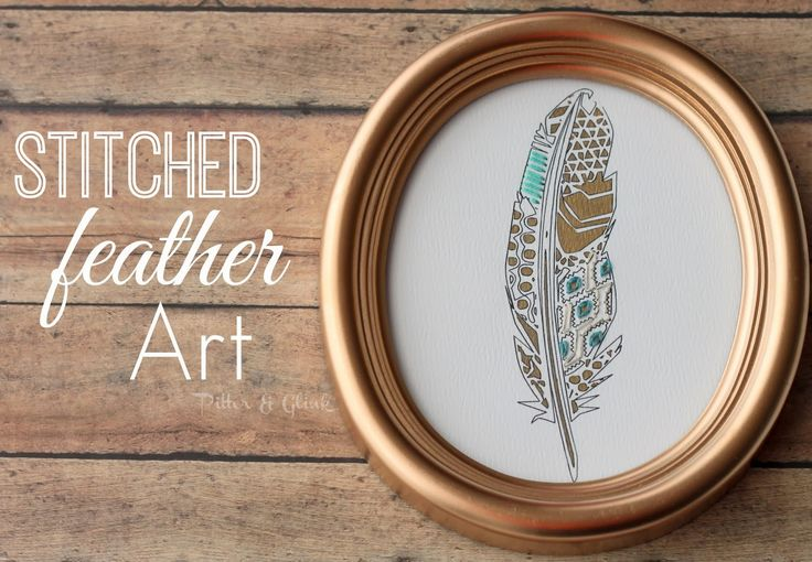 DIY Stitched Geometric Feather Art