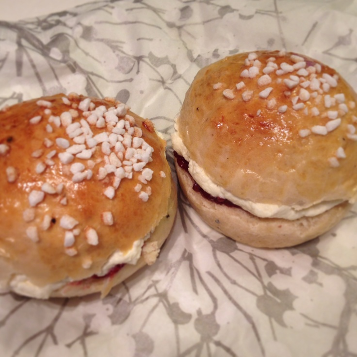 Finnish cardamom buns filled with whipped cream and raspberry jam ...