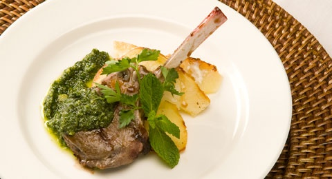 ... Grilled Baby Lamb Chops with Balsamic-Honey Glaze and Mint Pesto