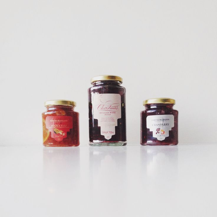 Mulled wine jelly with gold leaf. Bucks fizz marmalade with glitter ...