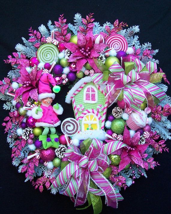 Annalee Elf and Raz Candy House Christmas Wreath In Hot Pink And Lime Green