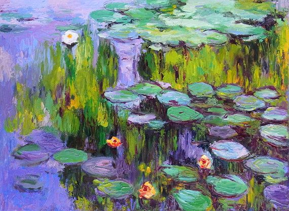 Original Oil Painting Monet Lily Pond Reproduction on ...