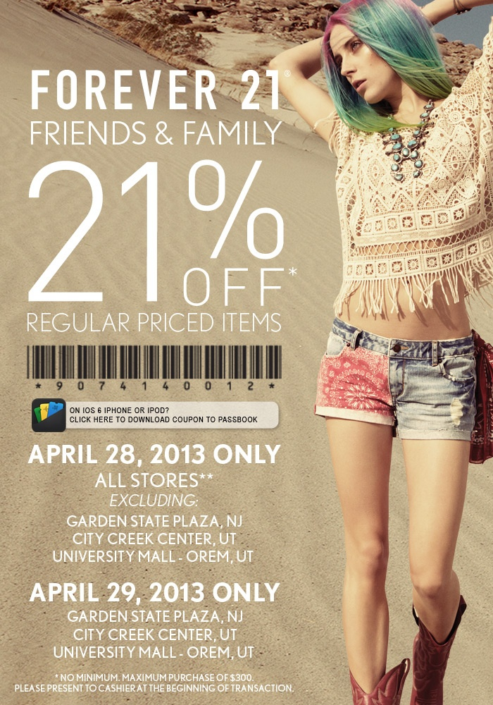 Forever 21 Coupons All Active Forever 21 Promo Codes & Coupons - Up To 30% off in December Forever 21 offers some of the latest trends. The average Forever 21 store is 38, square feet, the largest is approximately , square feet and the original Fashion 21 store is only square feet. However these details are rather.