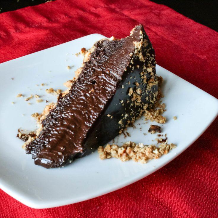 Salted Chocolate Tart with peanut butter pretzel crust #Chocolate # ...