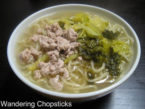 Chinese Noodle Soup with Ground Turkey and Pickled Mustard Greens 3
