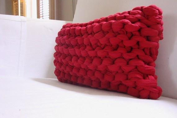 "Super Chunky Knit Lumbar Pillow- Lipstick Red: Hand knit using strips of jersey knit cotton. 14 x 8 x 5"". $35."