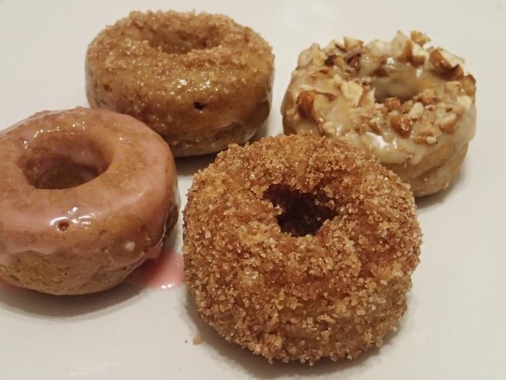 Pumpkin baked donuts with cranberry glaze, apple cider glaze, maple ...