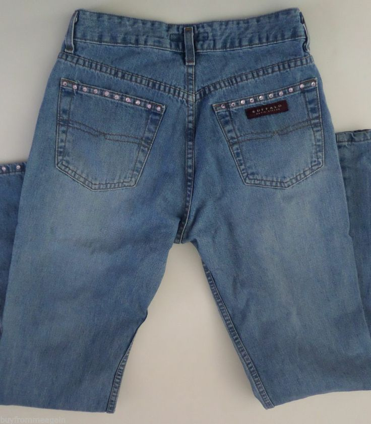Buffalo Woman Blue Jean Pants David Bitton White Pink Stones 28 28 x32