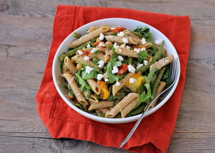 Arugula Pasta Salad with Chickpeas, Veggies, and Goat Cheese