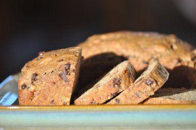 Chocolate chip banana bread. Works well to sub buckwheat flour instead ...