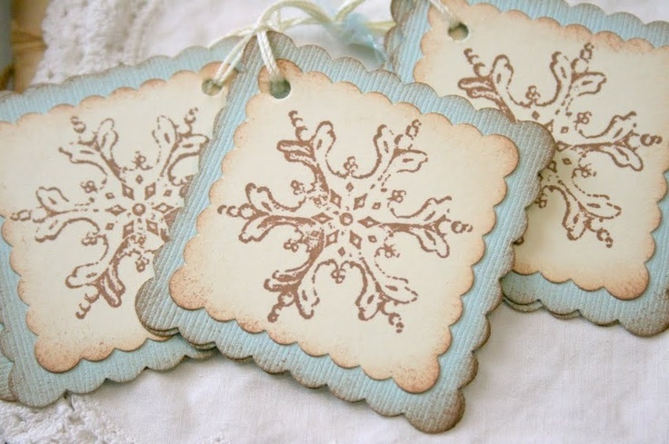 Handmade Christmas gift tags | Gift Tags Vintage Snowflakes Christmas by seasonaldelights