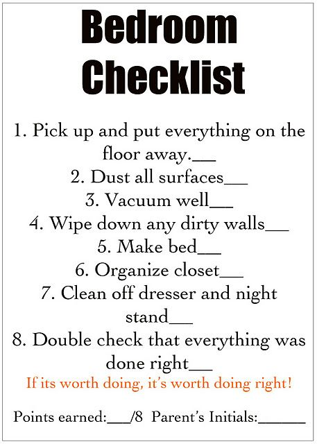 Room by room cleaning check list