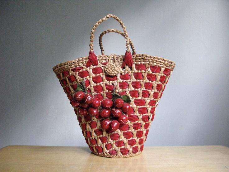 Vintage Straw and Velvet Cherry Basket