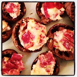 healthy stuffed mushrooms using light laughing cow cheese