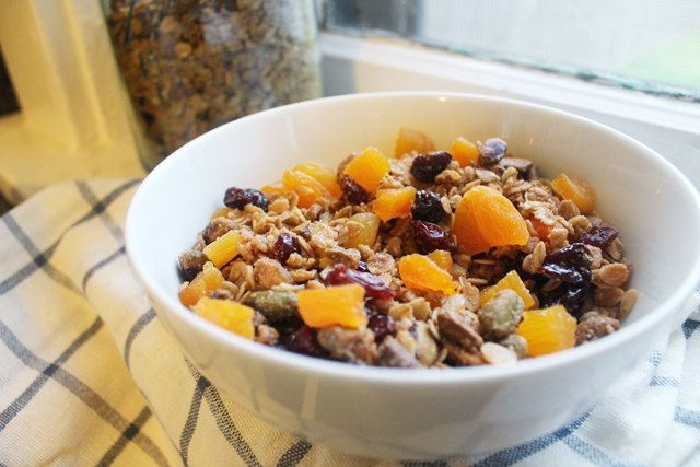 Olive oil granola with pistachios and dried apricots.