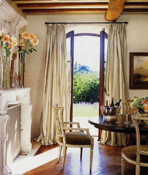French door drapes dream dining rooms pinterest for Dining room drapes