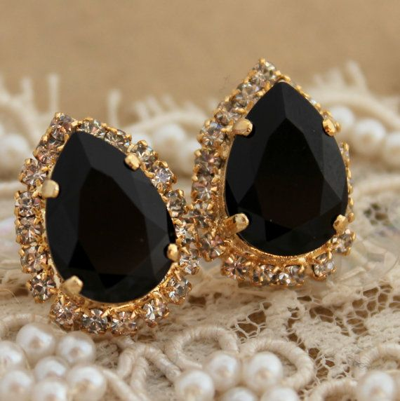 dr dre shop Black and gold Crystal big teardrop stud earring  14k plated gold po